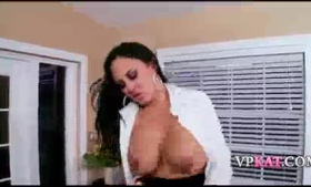 Sexy brunette gets fucked by two guys