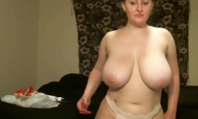 Blonde lady with big tits is having the biggest orgasm she has ever had while eating fresh cum