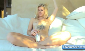 Hot blonde, Arya Fae is wearing sexy, animal printed outfit while playing with a rock hard cock