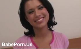 Pretty brunette babe love anal sex