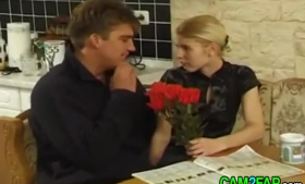 Skinny blonde teen Kaylee Adams likes to get fucked hard in a doggy- style position