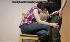 Hot CFNM whores in nice leather dresses are sucking and kneeling during an orgy