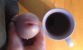 Coffee drinking blonde whore spoiling guys
