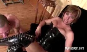 Brunette domina tormenting her sub