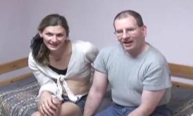 Busty man fucked a smoking hot brunette, Jayden Marie, on the big black sofa