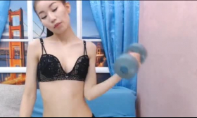 Asian babe is playing with her legs while getting ready to get fucked until she cums