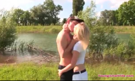 Petite blonde girl is getting gangbanged and licking pussy, because her plan is to get a job