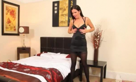 Ravishing brunette chick, Alena Croft is wearing high heels and she is torinyng before giving a titjob