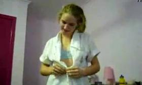 Blonde UK cutie creampied after tearing her orange hole