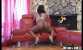 Big ass brunette, Mercedez is getting her partner's fat dick in her ass, on the coffee table