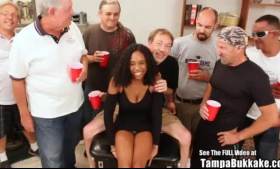 Ebony teen bukkake slut ass rimmed and creampied