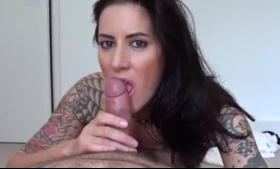 Cock loving chick, LayMarie got fucked with a strap- on by two horny guys at the same time