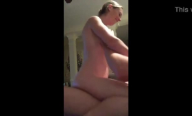 Ravishing blonde woman with big tits is eagerly riding her lover's dick while he is licking her feet