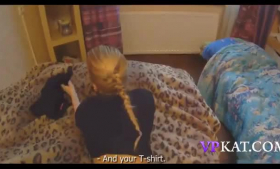 Small titted girl with hairy pelt is rubbing her shaved pussy in her bed