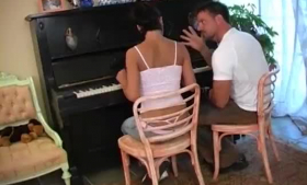 Horny piano teacher can keep his pants off while he is fucking his naughty student in a class
