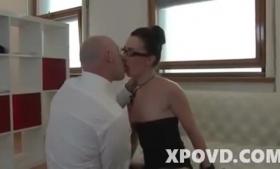 Cute brunette secretary wanking on the boss during interview