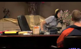 Horny secretary with dogbone and yoga massages