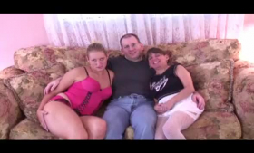 Hot girls are having a threesome with their super horny roommate in his room
