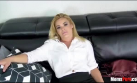 Hot blonde is having casual sex session with her handsome neighbor, in the backyard