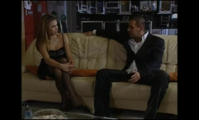 Blondy blonde in latex is getting what she wants from an older man, in his hotel room