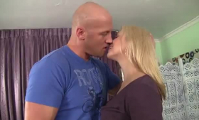 Sarah Vandella and her Asian lover are taking turns sucking that bald guy's cock
