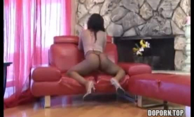 Big ass brunette in a floral dress, Audrey Noir is cheating on her husband with her new lover