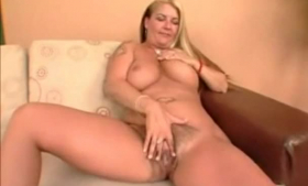 Blonde babe with neat bushtin and bangs gets punished hard