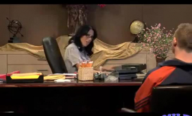 Naughty secretary is working in the office and often having casual sex with her employer
