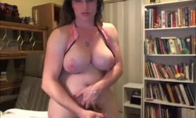 Busty tranny films herself having sex on webcam
